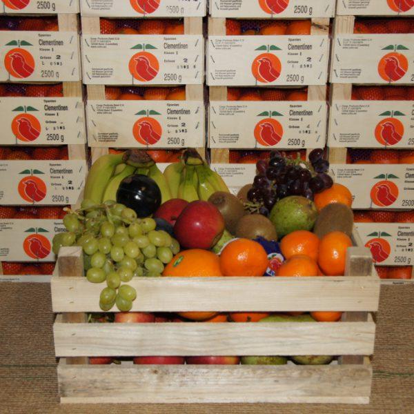 Obstkiste Exklusiv - Lieferfertig: 2 kg Premium-Äpfel, 1 kg Birnen, 2 kg Südfrüchte, 2 kg Trauben, 2 kg Bananen