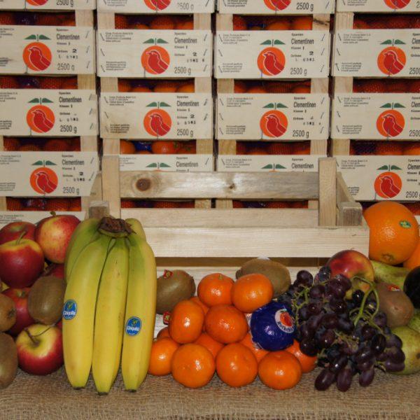 Obstkiste Premium - Inhalt: 3 kg Premium-Äpfel, 2 kg Birnen, 2 kg Südfrüchte, 1 kg Trauben, 1 kg Bananen