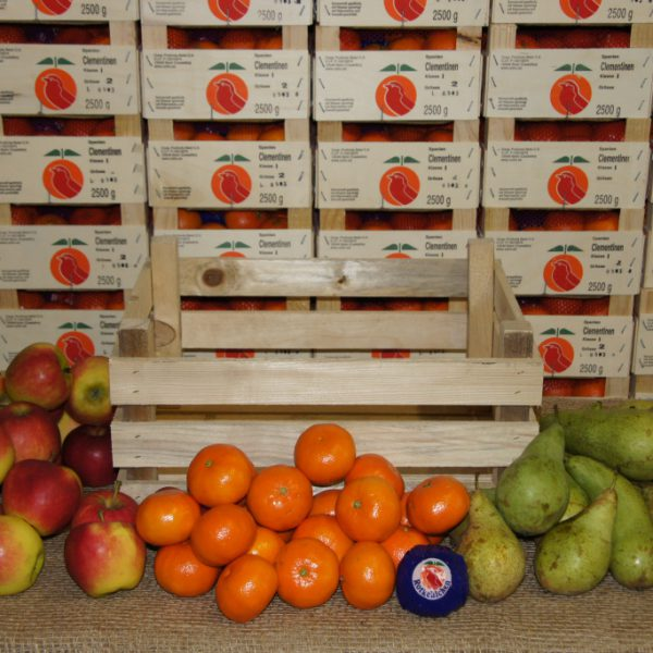 Obstkiste Standard - Inhalt: 4 kg Premium-Äpfel, 3 kg Birnen, 2 kg Südfrüchte
